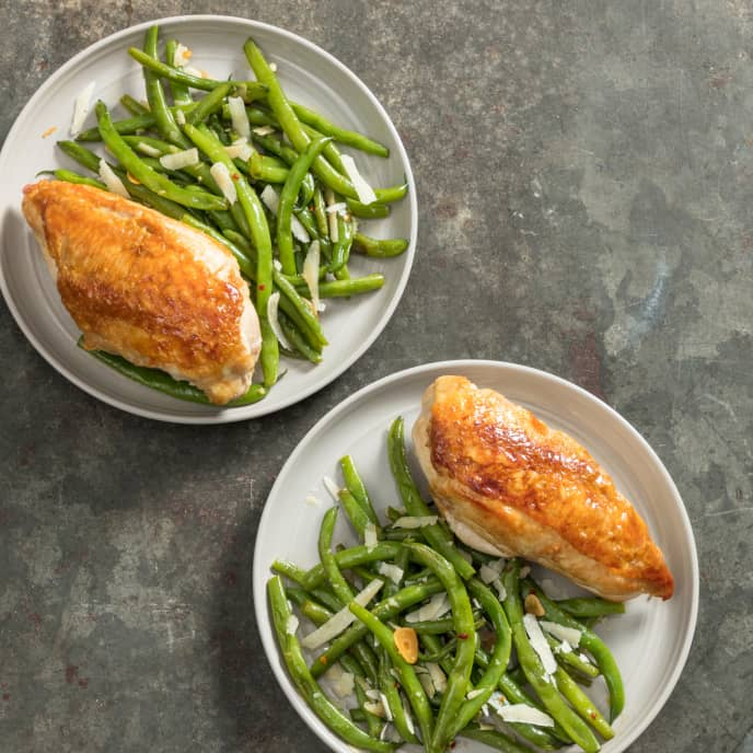Skillet-Roasted Chicken Breasts with Garlicky Green Beans for Two
