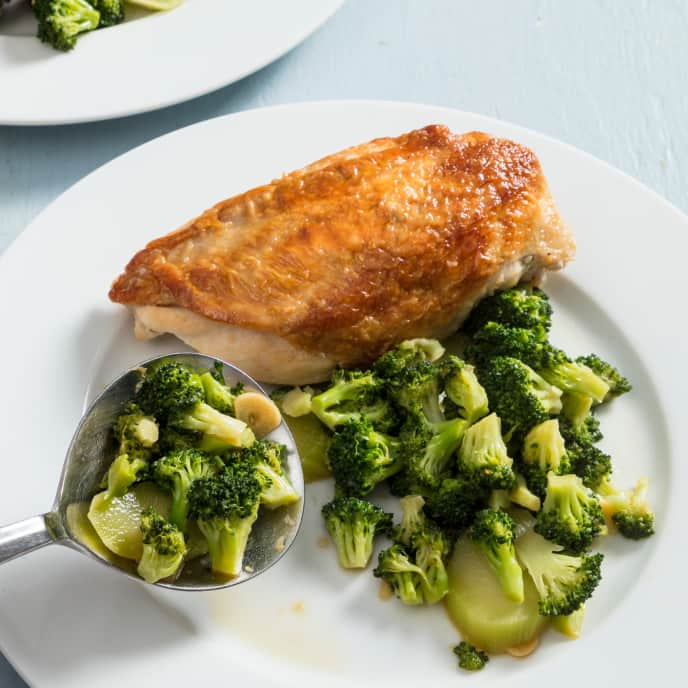 Skillet-Roasted Chicken Breasts with Garlic-Ginger Broccoli