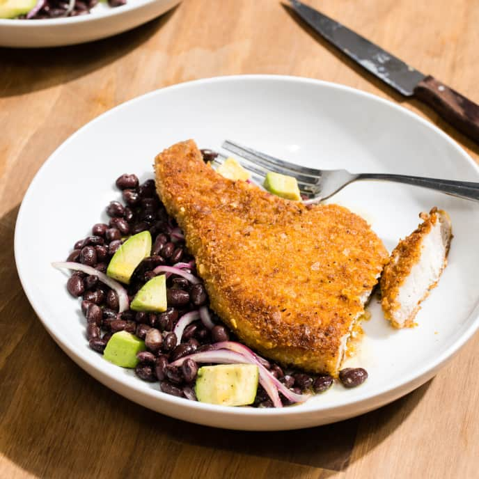 Plantain-Crusted Pork Chops with Black Bean and Avocado Salad