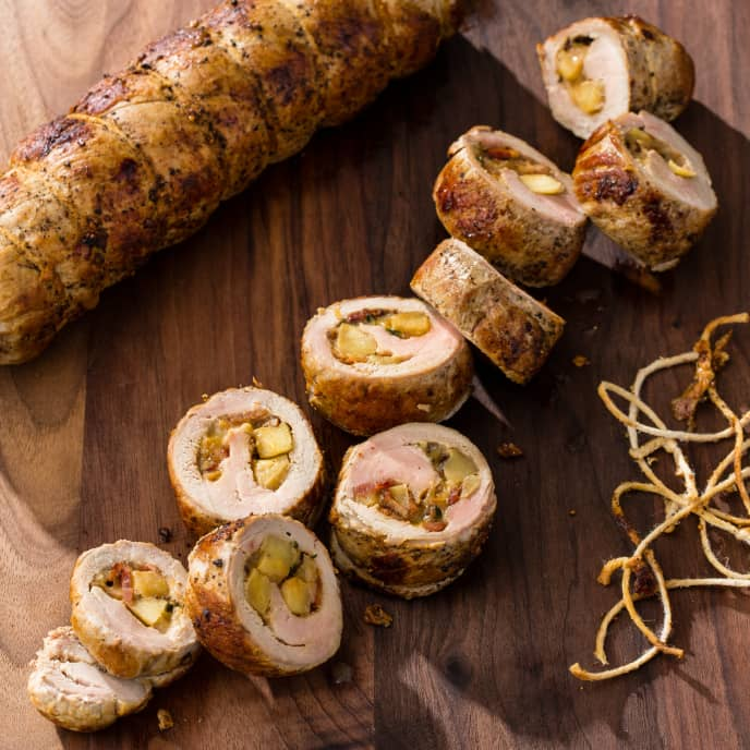 Pork Tenderloin Roulade with Bacon, Apple and Gruyere