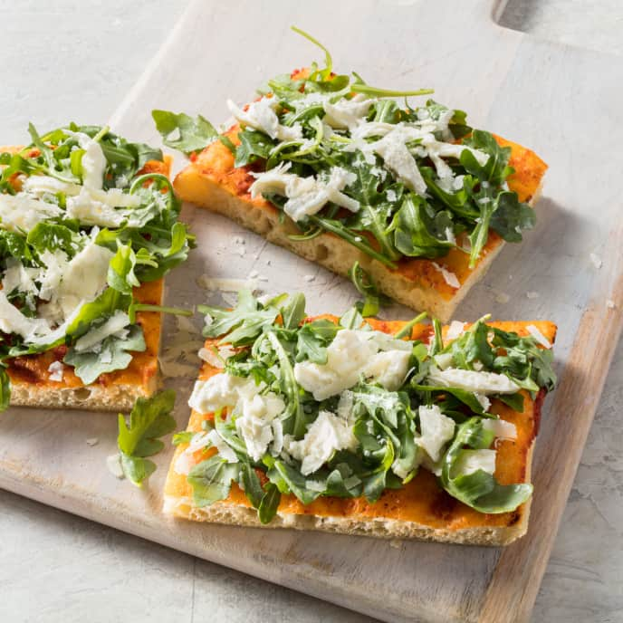 Pizza al Taglio with Arugula and Fresh Mozzarella
