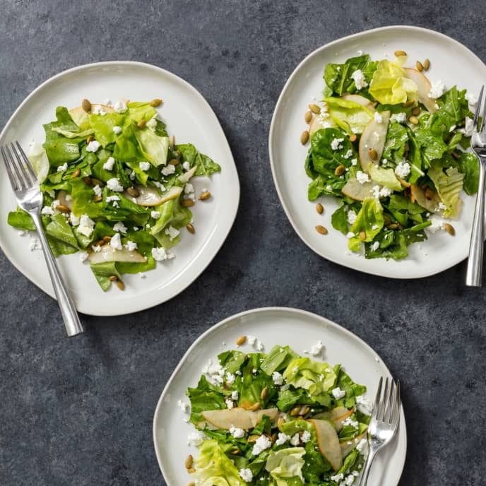 Bibb and Arugula Salad with Pear and Goat Cheese