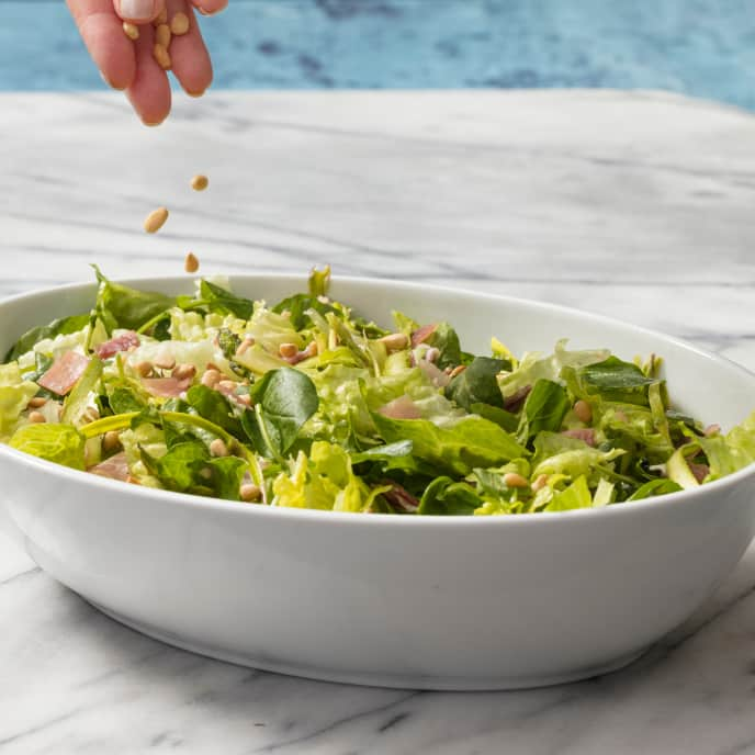 Romaine and Watercress Salad with Asparagus and Prosciutto