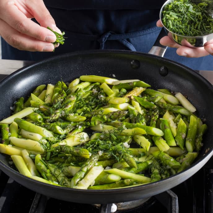 Pan-Steamed Asparagus with Shallots and Herbs