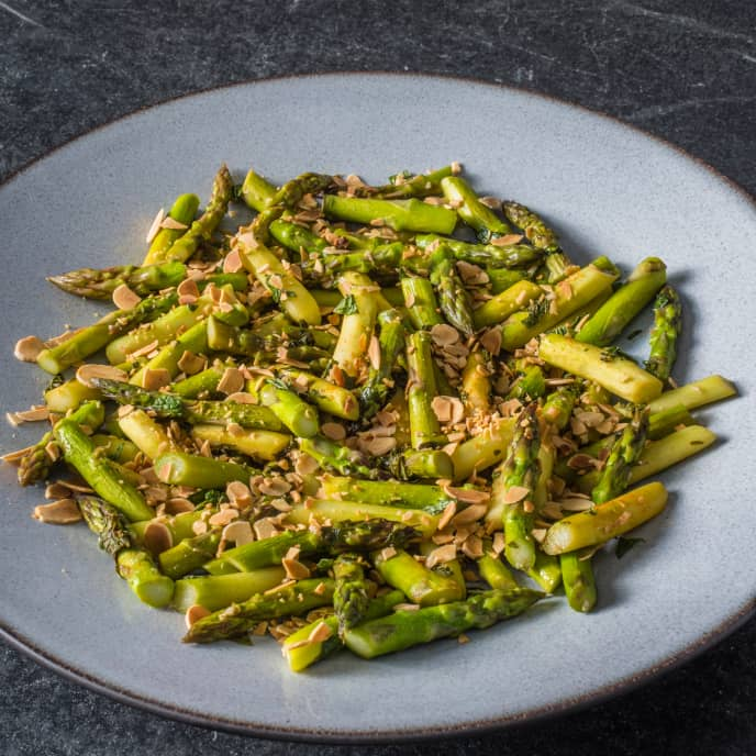 Pan-Steamed Asparagus with Mint and Almonds