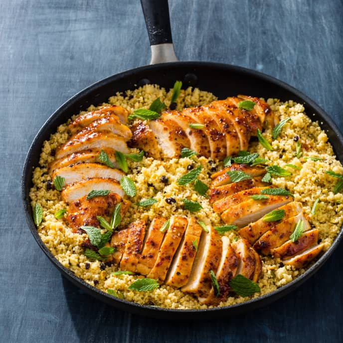 Glazed Chicken Breasts with Currant-Pistachio Couscous
