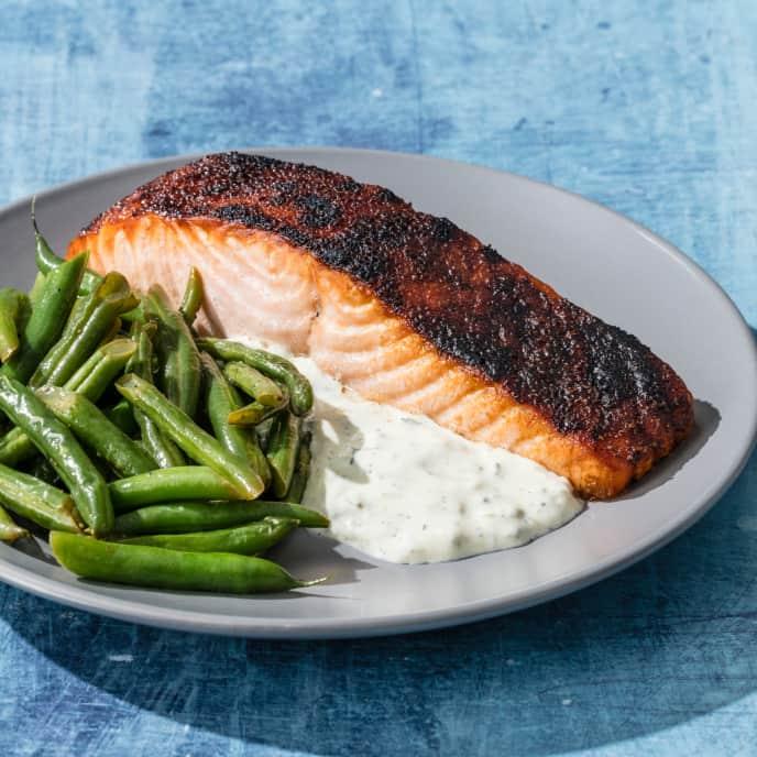 Crispy Broiled Salmon with Lemon-Butter Green Beans
