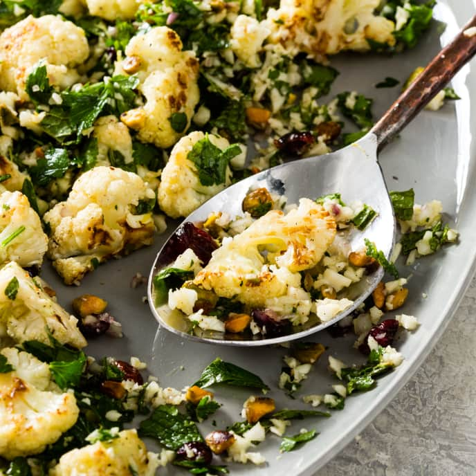 Cauliflower Salad with Cranberries and Pistachios