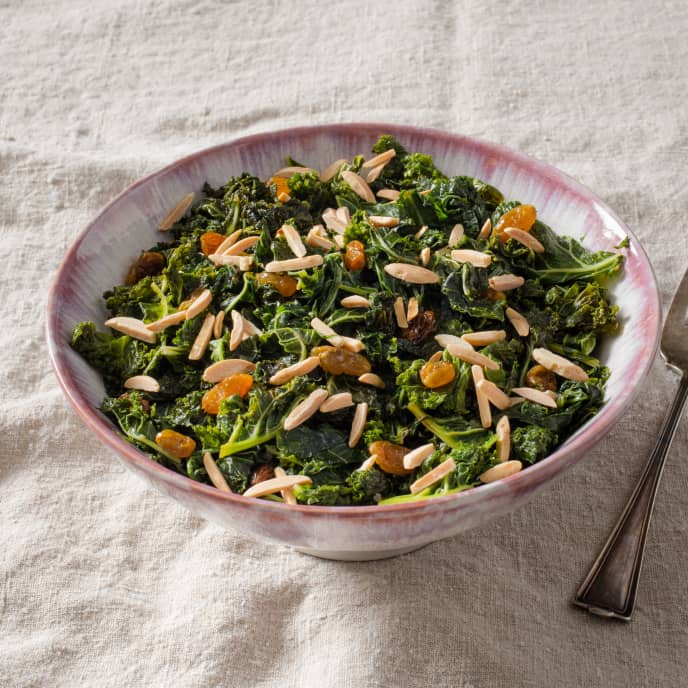Pan-Steamed Kale with Raisins and Almonds