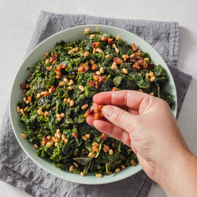 Pan-Steamed Kale with Pancetta