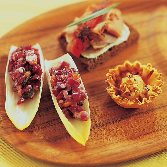 Creamy Beet Spread with Endive Leaves