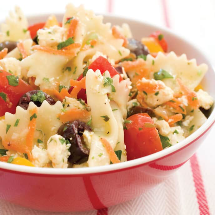 Summer Garden Pasta Salad with Olives and Feta