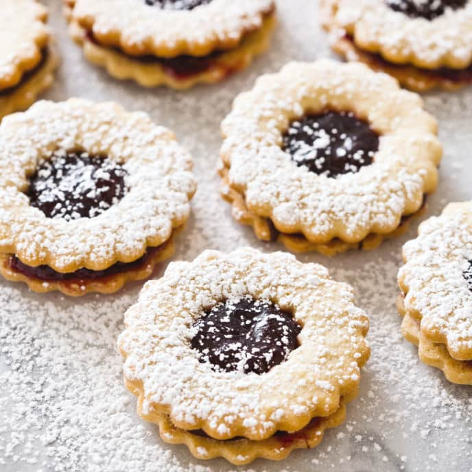 Black Cherry and Chocolate Linzer Cookies