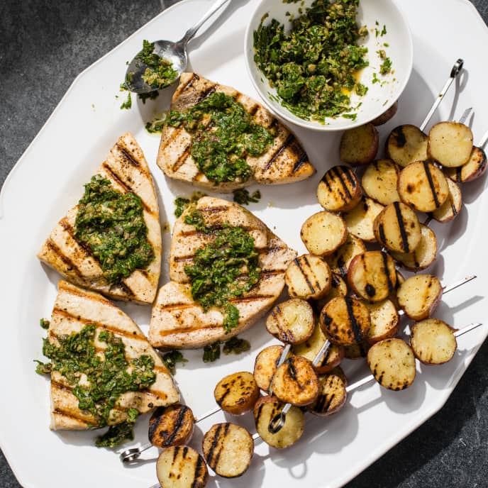 Grilled Swordfish with Potatoes and Salsa Verde