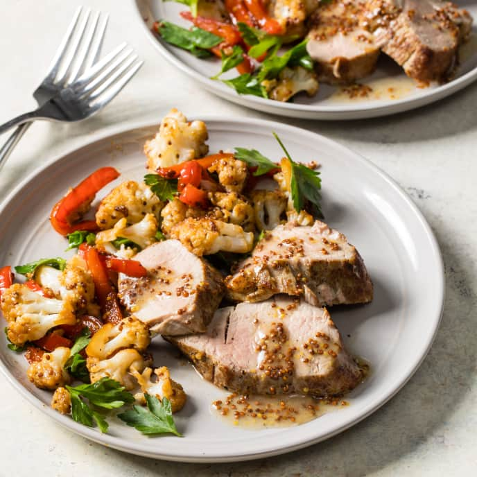 Mustard Pork Tenderloin with Cauliflower