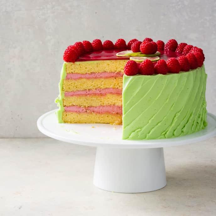 Raspberry Lime Rickey Cake