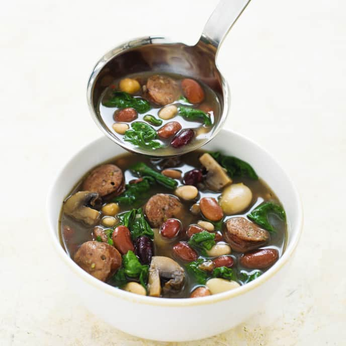 Slow-Cooker 15-Bean Soup With Sausage and Spinach