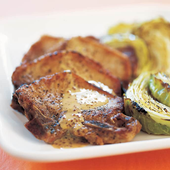 Mustard Pork Chops with Crispy Cabbage
