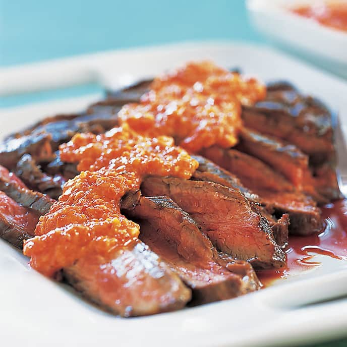 Skillet Flank Steak with Spicy Red Pepper Sauce