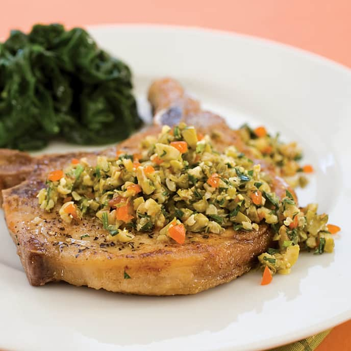 Pan-Seared Pork Chops with Parsley-Olive Salsa