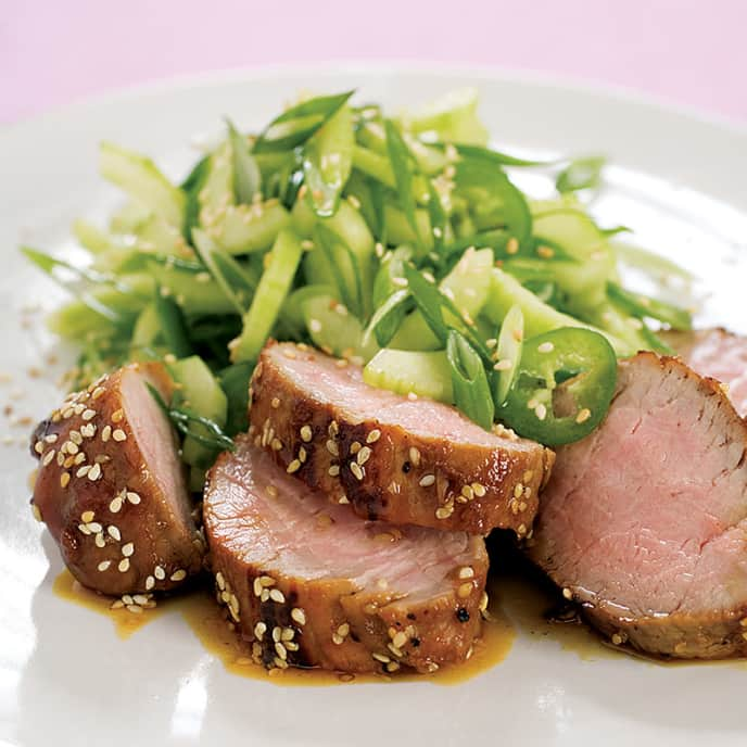 Honey-Sesame Pork Tenderloin with Spicy Scallion Salad