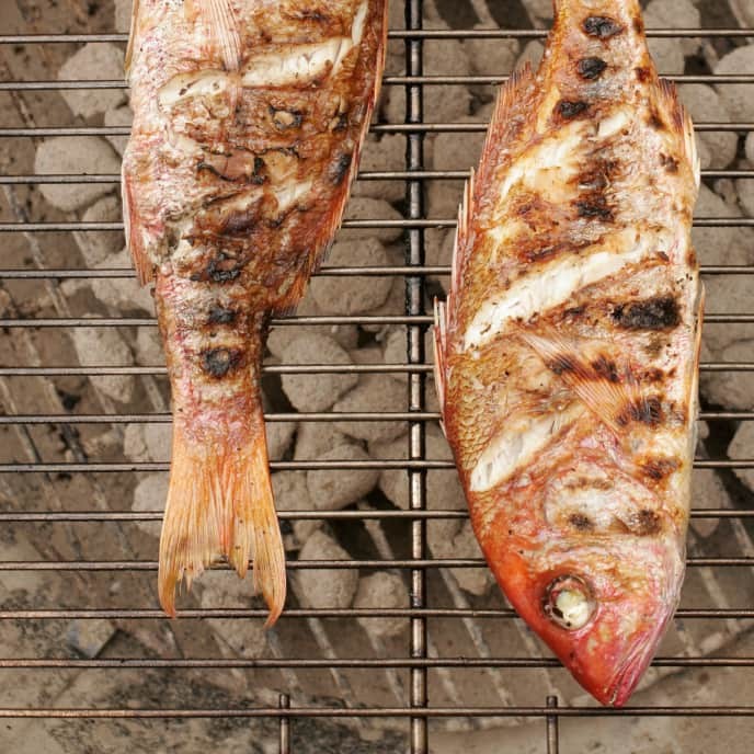 Gas-Grilled Whole Striped Bass