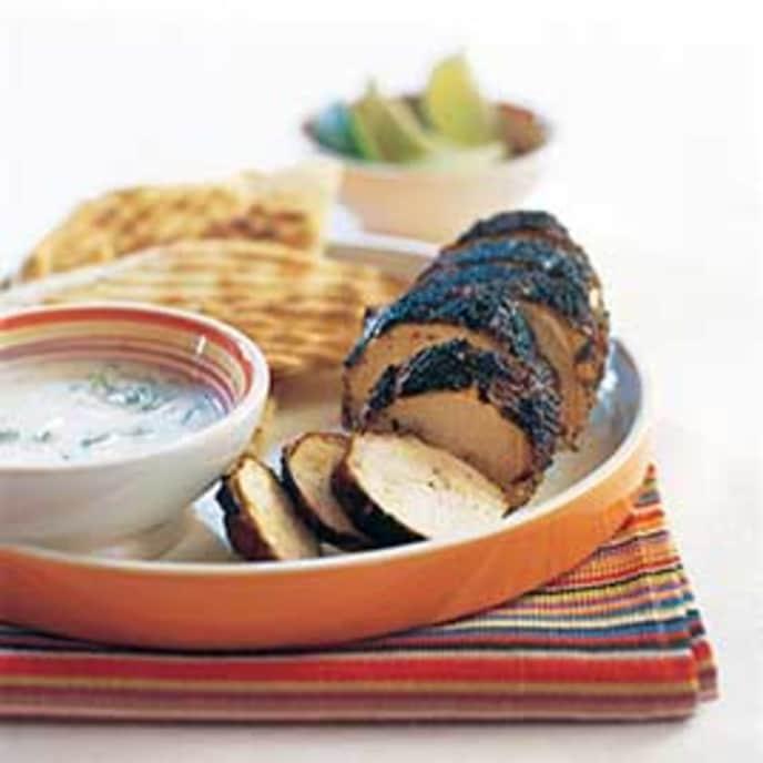 Gas-Grilled Tandoori-Style Chicken Breasts with Raita