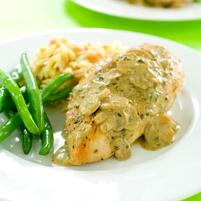 Sautéed Chicken with Pesto-Mushroom Cream Sauce