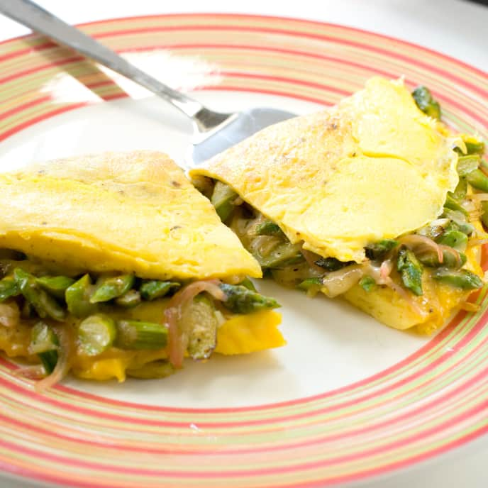Asparagus Omelet with Black Forest Ham and Mustard