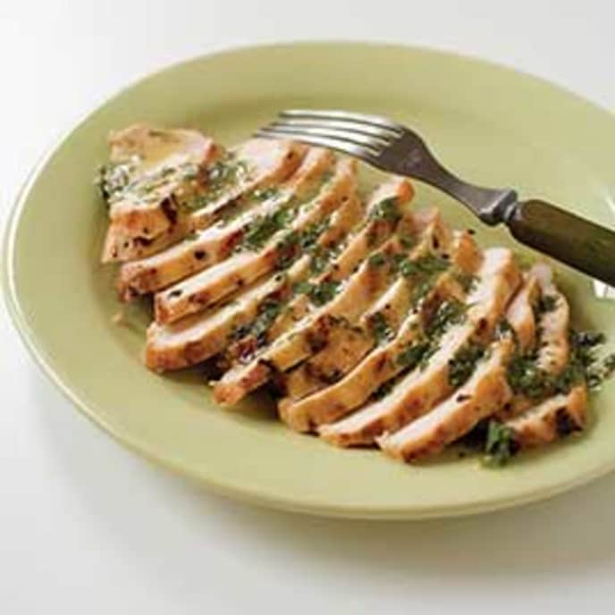 Grilled Orange-Tarragon Chicken Breasts on a Charcoal Grill