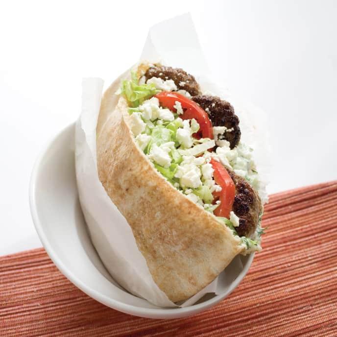 Greek-Style Beef Pita Sandwiches with Tzatziki Sauce