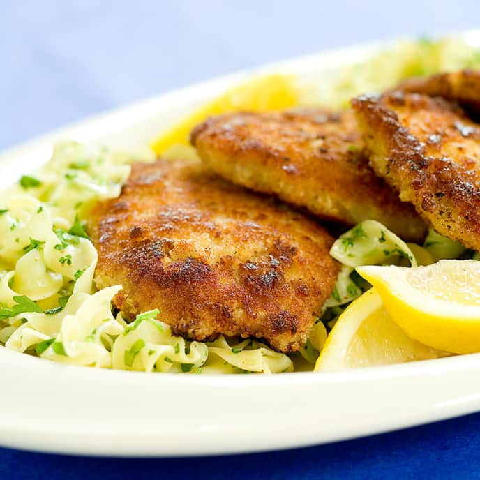 Crispy Pork Cutlets with Buttered Noodles