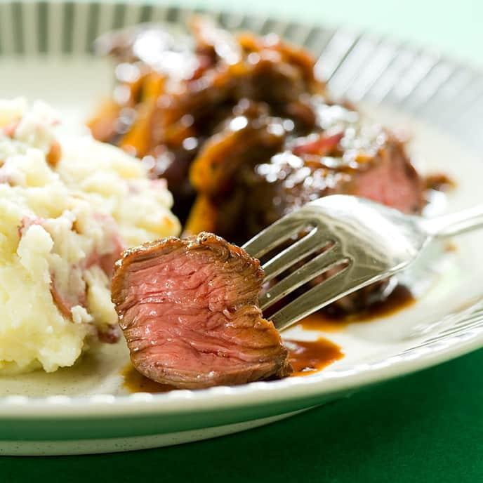 Skillet Smothered Steak Tips