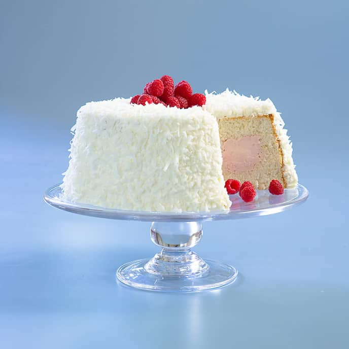 Raspberry Coconut Cloud Cake