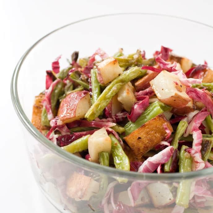 Roasted Green Bean and Potato Salad with Radicchio