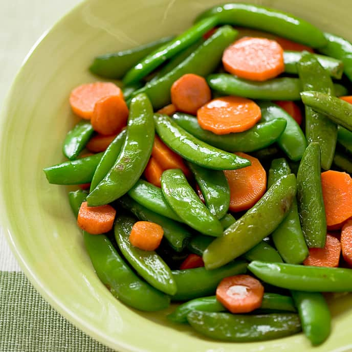 Glazed Sugar Snap Peas and Carrots