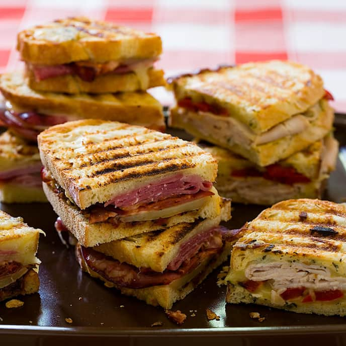 Ham, Cheddar, and Grilled Onion Panini