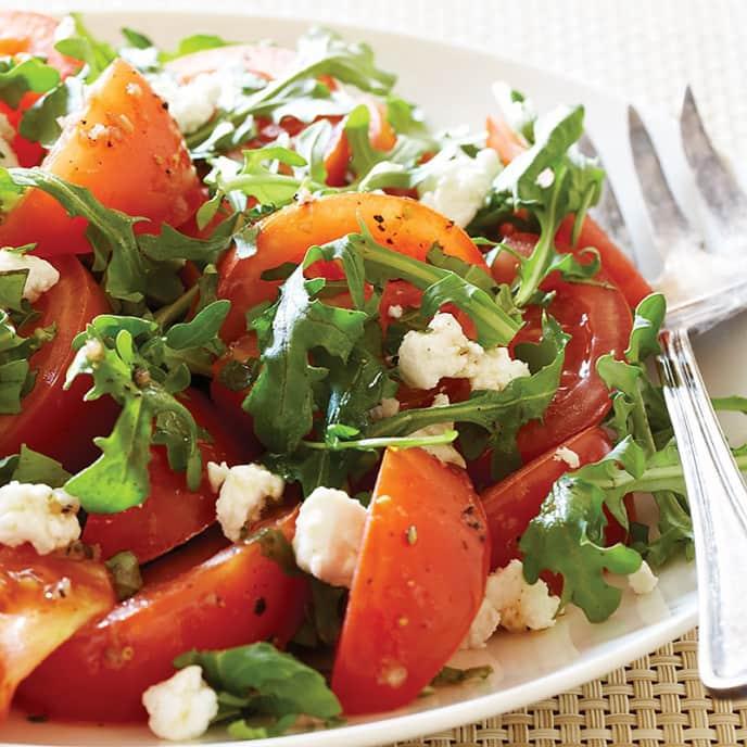 Marinated Tomato Salad with Arugula and Goat Cheese