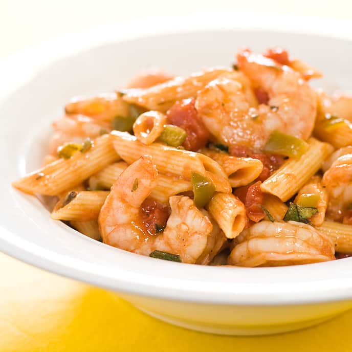 Penne with Spicy Shrimp and Tomato Sauce