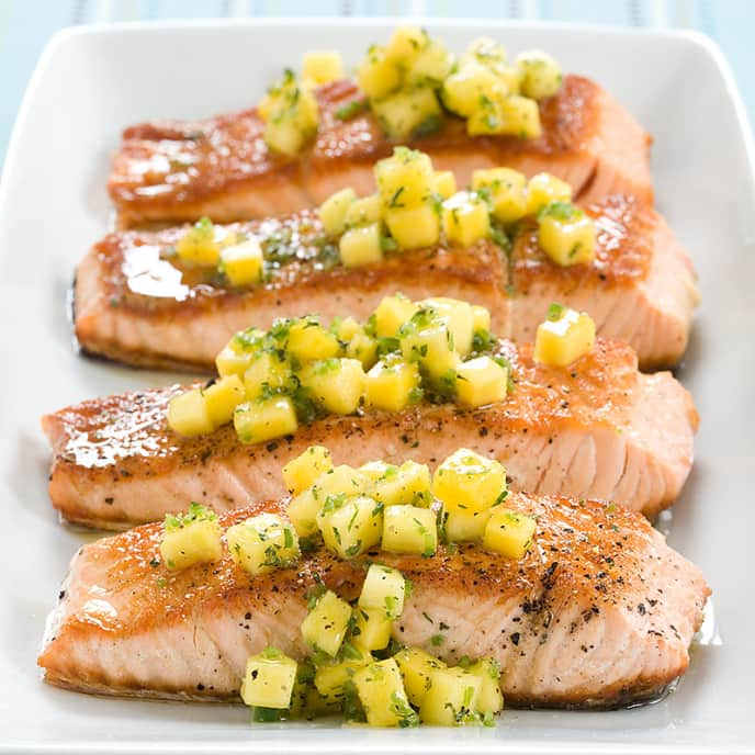 Seared Salmon with Mango-Mint Salsa
