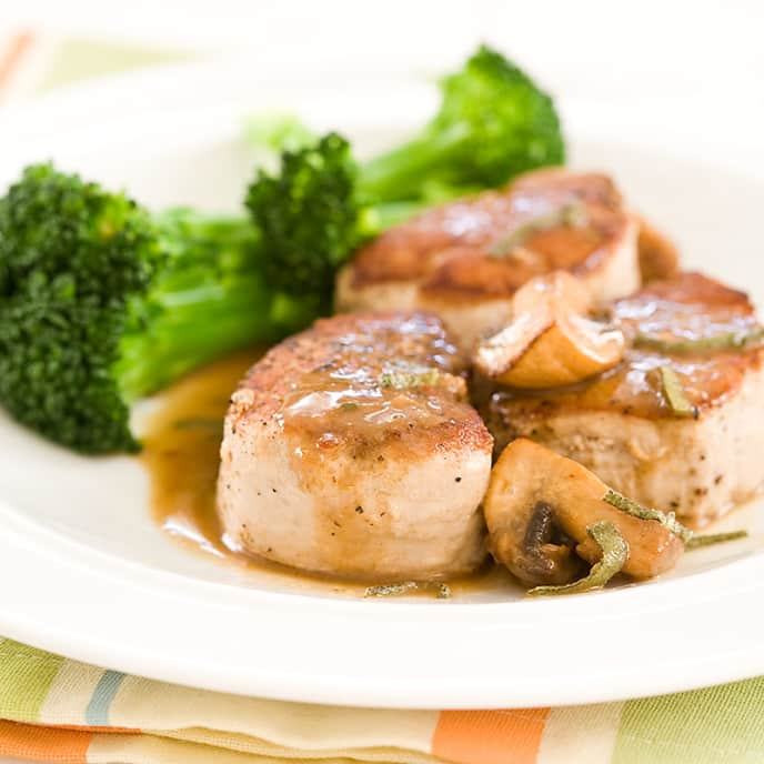 Pork Medallions with Madeira and Sage