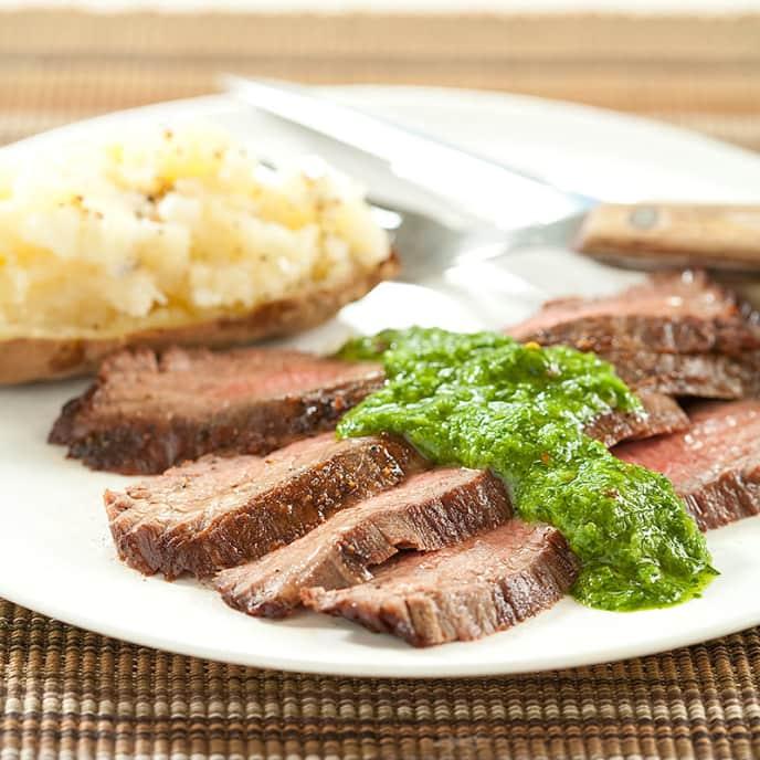 Seared Flank Steak with Chimichurri Sauce