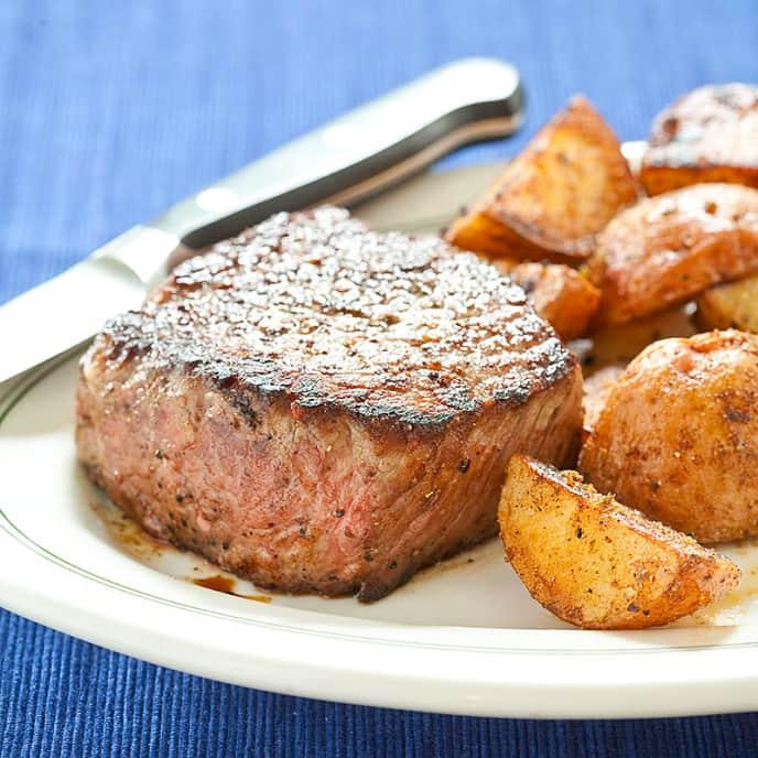 Steak with Crispy Spiced Potatoes