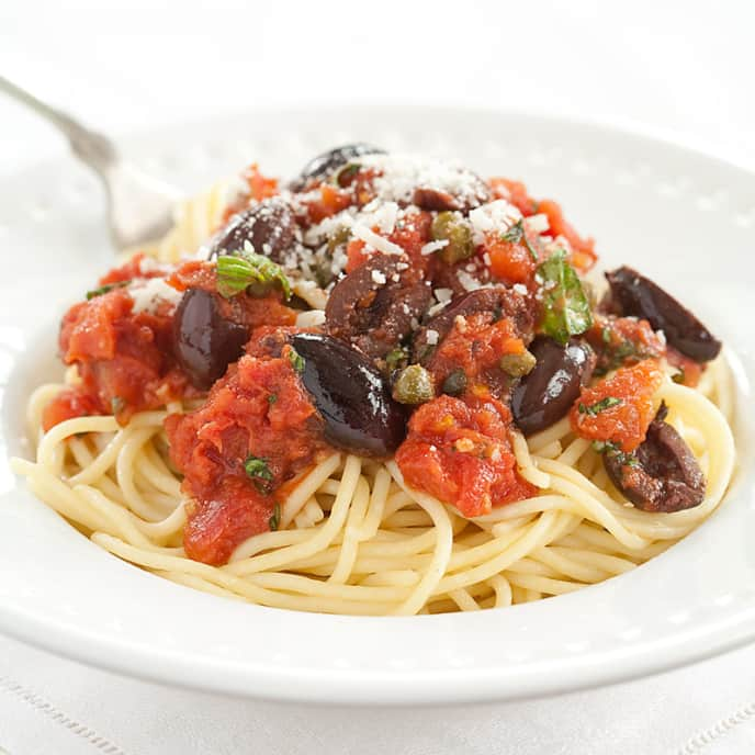 Pasta with Spicy Tomato and Olive Sauce