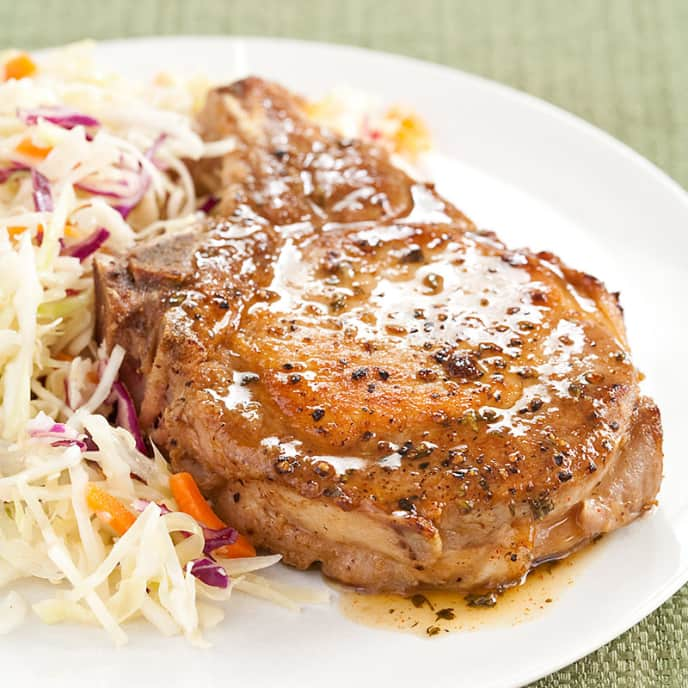 Honey-Glazed Pork Chops with Sweet and Tangy Slaw