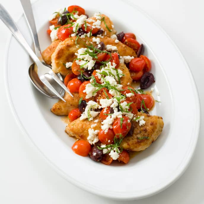 Sautéed Chicken with Cherry Tomatoes, Olives, Feta, and Mint
