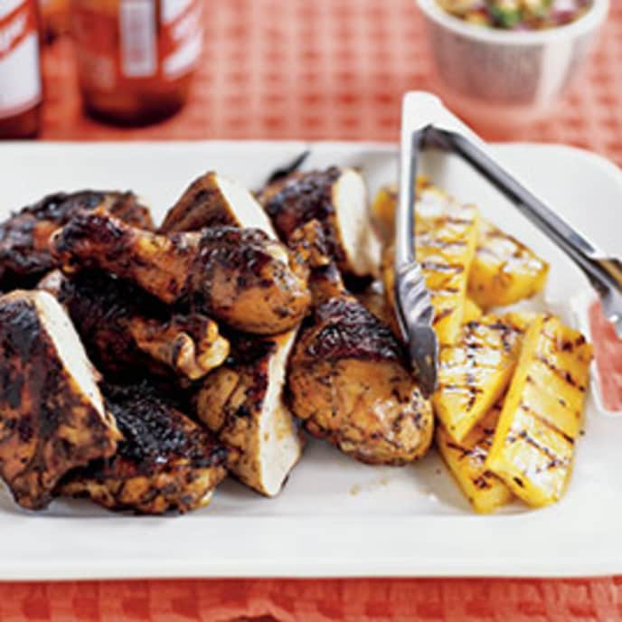 Jamaican Jerk-Style Chicken Skewers with Spicy Orange Dipping Sauce