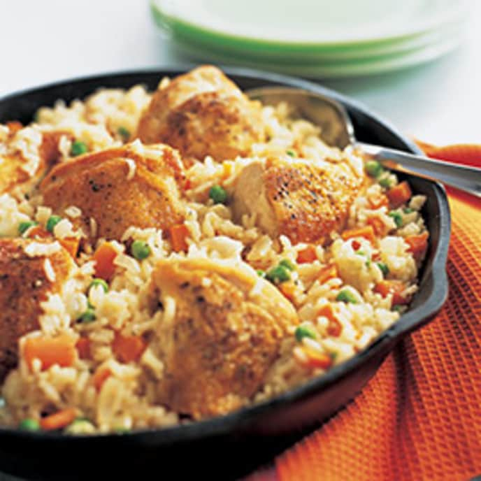 Skillet Chicken and Rice with Carrots, Peas, and Parmesan
