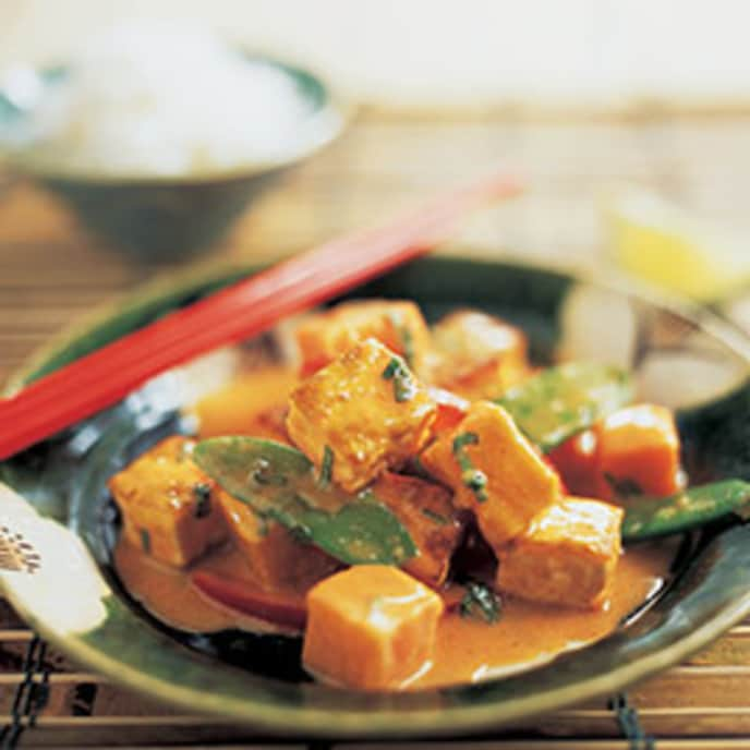 Skillet Thai Curry with Sweet Potatoes and Tofu