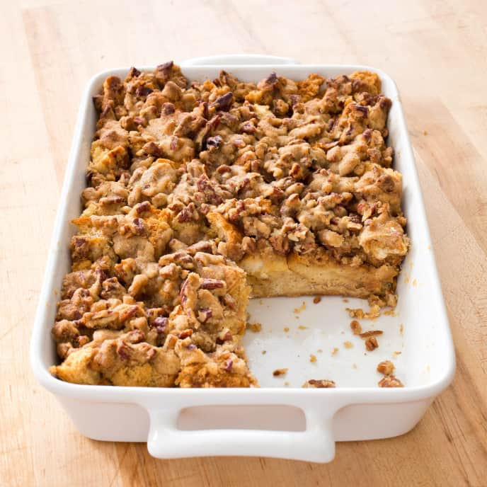 French Toast Casserole with Pecan Topping